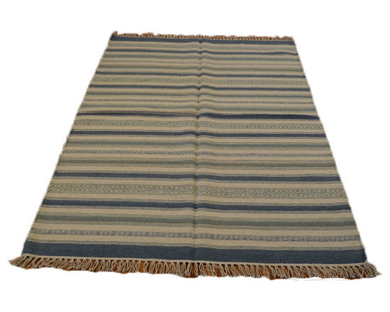 Flat Weave Hand Woven 4'X6' 100% Wool SHades Of Blue Durie Kilim Area Rug SH6986 - Soumaks & Kilims are prominent Flat Woven Rugs.  Flat Woven Rugs are made by weaving wool onto a foundation of cotton warps on the loom.  The unique trait about these thin rugs is that they're reversible.  Pillows and Blankets can be made from Soumas & Kilims.
