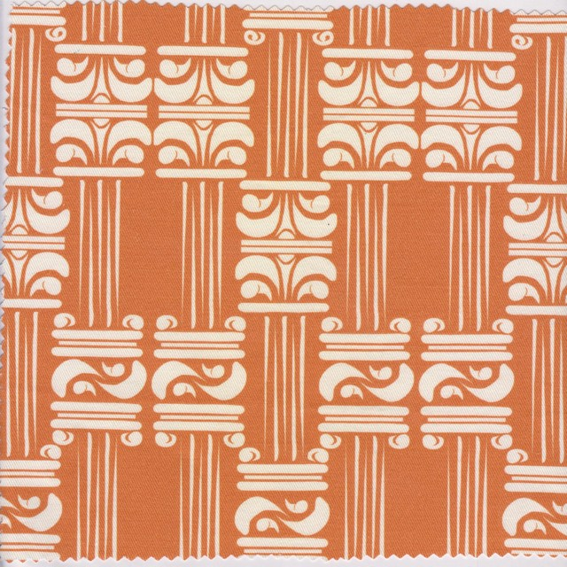 corinthian/ orange cream upholstery-fabric