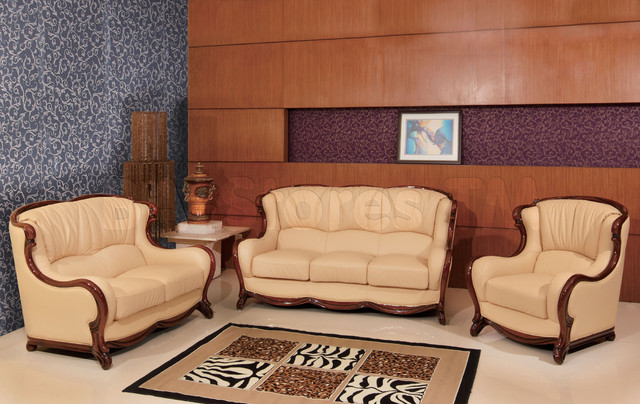 Classic Genuine Italian Leather 3 PC Living Room Set - traditional