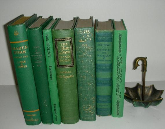 Vintage Emerald Green Book Stack By Vintage Rescue Shop