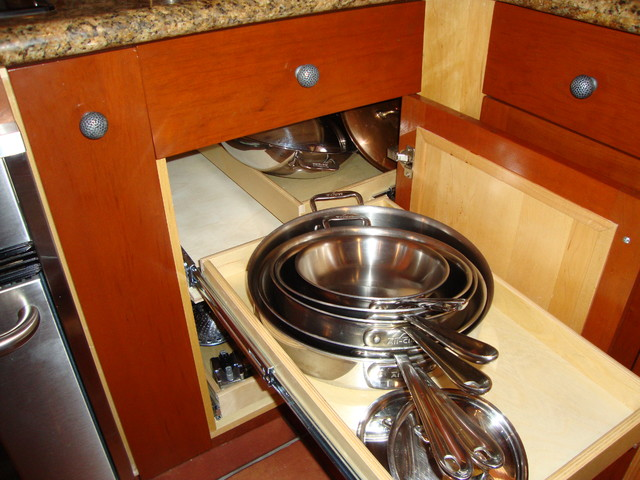Pull Out Blind Corner Cabinet Solution - Kitchen Drawer Organizers - miami - by ShelfGenie of Miami