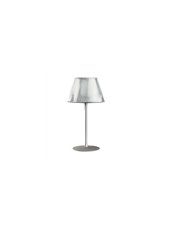 Romeo Moon T1 Table Lamp By Flos Lighting - The Flos Romeo Moon embodying the spirit of Starck's romantic genre, the Romeo Moon features an aluminum base with a clear glass shade.