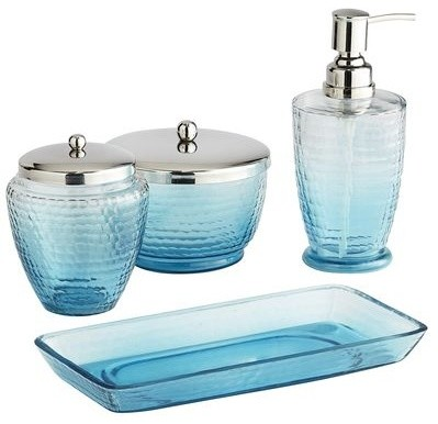 Blue ombr bath accessories contemporary bathroom for Bathroom accessories glass