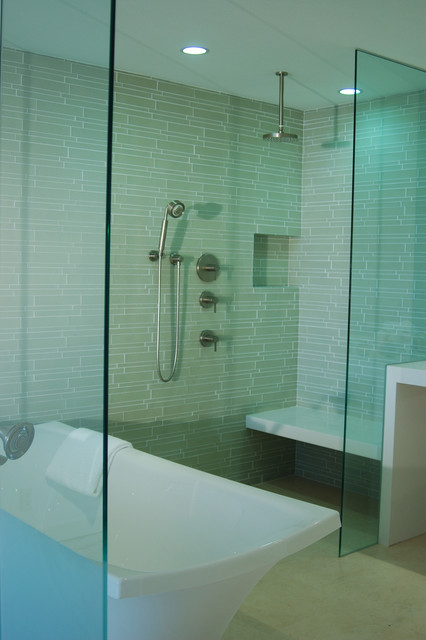 Island Stone Linear Glass Bathroom 2 modern bathroom tile