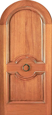 Round Top Single Door Hand Carved 2 Panel In Mahogany