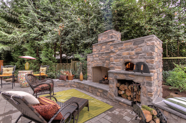 outdoor fireplace with pizza oven traditional portland by