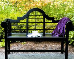 4' Lutyen Bench - Black Lacquer mediterranean-outdoor-stools-and-benches