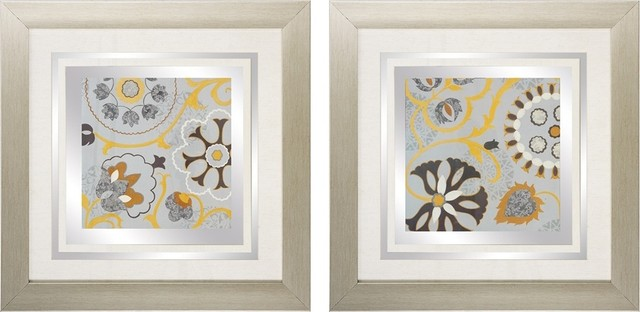"Contemporary Set of 2 Silk Road I/II 24"" Square Blue Floral Wall Art contemporary-artwork"