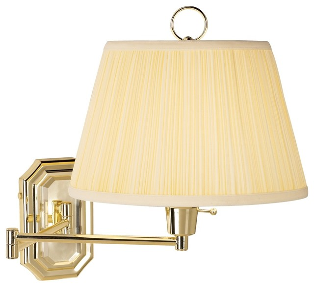 Traditional Wall Lamp Shades : Brass with Ivory Mushroom Pleated Shade Plug-In Wall Lamp - Traditional - Swing Arm Wall Lamps