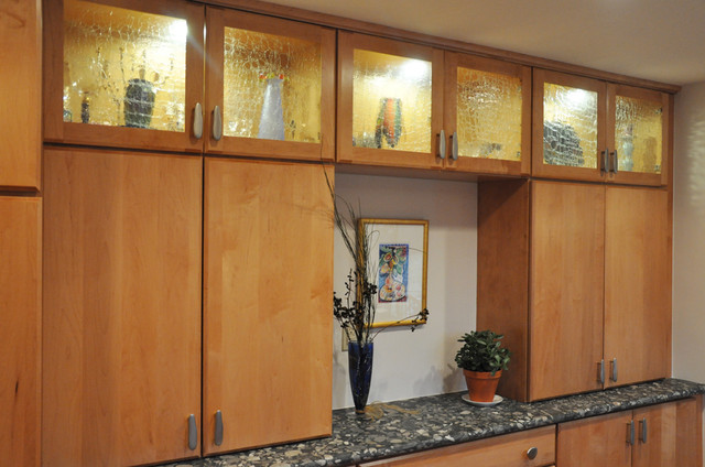 Kitchen with Crackle ( aligator skin ) cabinet glass inserts