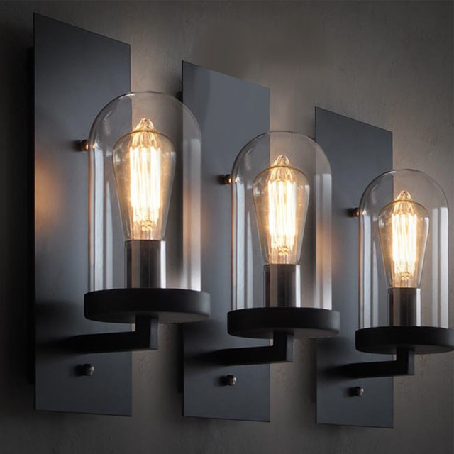 loft industrial clear glass iron wall sconce. Black Bedroom Furniture Sets. Home Design Ideas