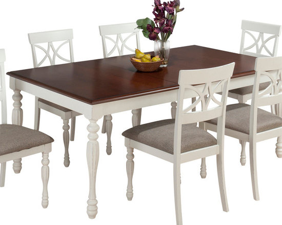 Jofran - Jofran 693-76 Chesterfield Tavern Rectangle Butterfly Leaf Dining Table - The Chesterfield Tavern collection will add a country-Chic look to your casual dining space. With eye-Catching details such as fluted legs, beautiful two-toned antiqued tables, detailed scroll and splat back side chairs and a server that boasts plenty of room for your serving essentials this set will add a lot of character to your room. Choose from two table types and two beautiful colors: antique white or antique black.