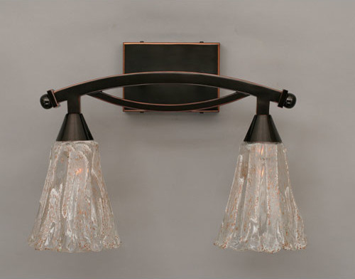Vanity Light Bar Black : Bow Black Copper Two-Light Bath Bar with Italian Ice Glass - Eclectic - Bathroom Vanity Lighting ...