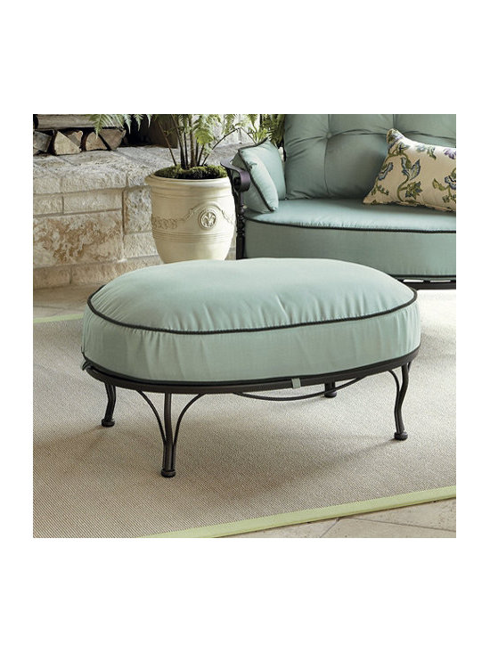 Ballard Designs - Corsica Ottoman - Powder coated to resist rust, peeling & chipping. Fully welded wrought iron frame. Non-mar footpads. Deep Chocolate finish. Made in USA. Our Corsica Outdoor Ottoman's wide oval shape echoes the Chair's graceful lines. Extra thick cushions to embrace you in curl-up comfort. Cushions come in your choice of Sunbrella fabrics with rope twist cording.Ottoman features: . . . .  . Replacement cushions available.