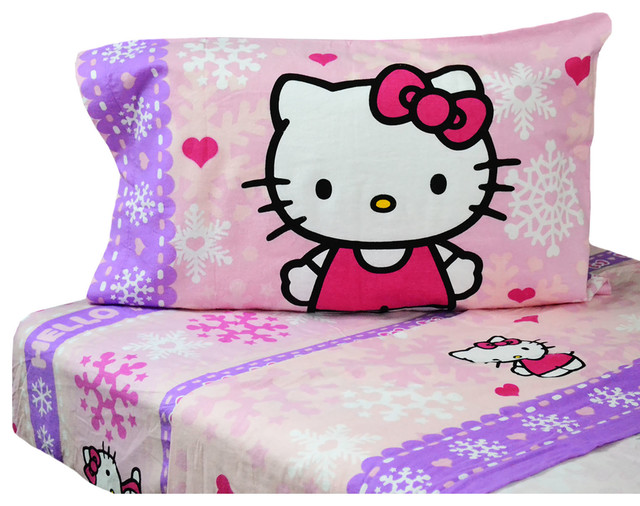 hello kitty flannel twin sheet set snow ribbons bedding