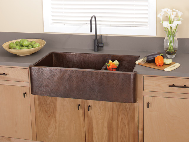 Farmhouse Duet Pro Copper Kitchen Sink in Antique by Native Trails Traditio