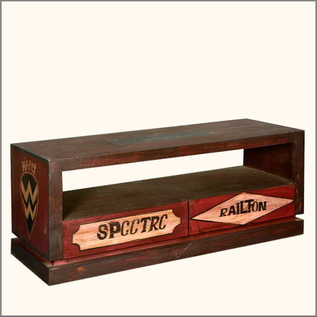 Multi Color Reclaimed Wood TV Stand Media Console Asian