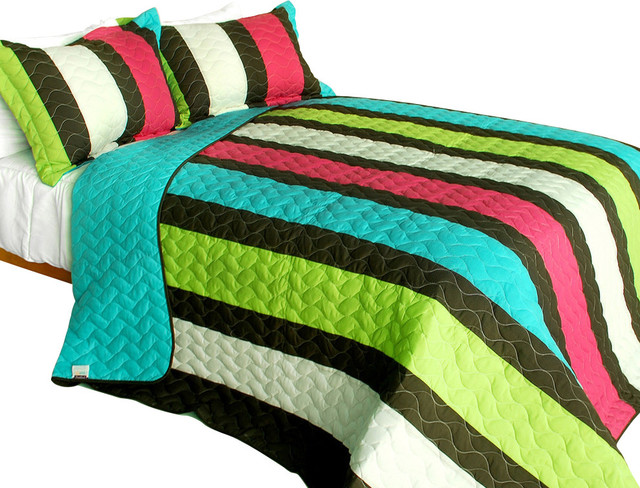 My Way 3PC Vermicelli-Quilted Patchwork Quilt Set  Full/Queen Size contemporary-quilts-and-quilt-sets