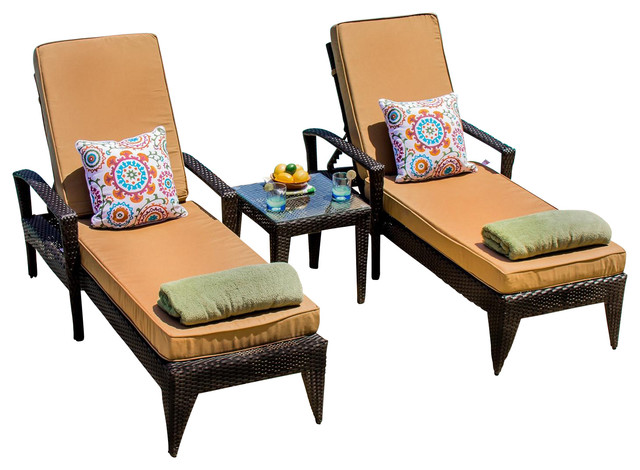 Providence 2 person wicker chaise lounge set midcentury for 2 person outdoor chaise lounge
