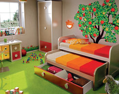 Kids double bed with drawers underneath contemporary-kids-beds
