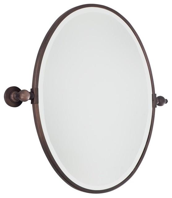 Oval tilt bathroom mirror 3 finishes bathroom mirrors for Oval bathroom mirrors