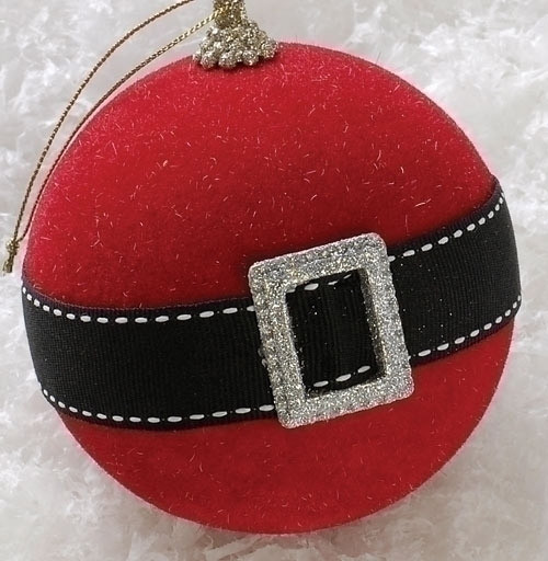 Holiday cheer santa claus belt christmas ball ornament