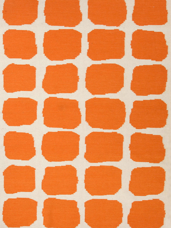 Maroc Orange Rug - The Maroc Rug has a fresh, fashion-forward style and pattern with a bright contrast between orange and white. This diverse woolen flat-weave rug is reversible offering two looks to play with. This product is easy to care for and durable. Made in India.