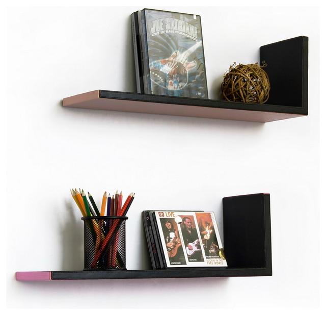 Elegant Warm L-Shaped Leather Shelf / Bookshelf / Floating Shelf Set ...
