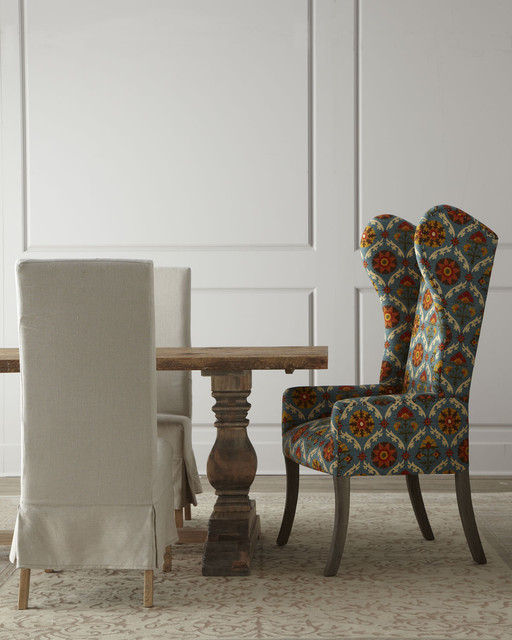 Eclectic Dining Room Tables: Natural Dining Table & Upholstered Dining Chairs