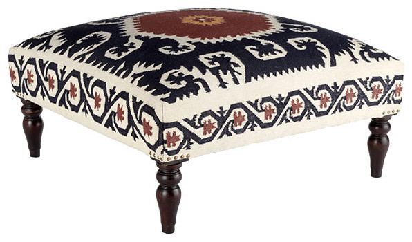 Wooden Dhurrie Upholstered Ottoman mediterranean-footstools-and-ottomans