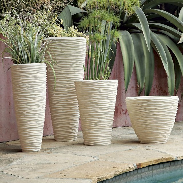 Textured stone planters modern indoor pots and for Pot de fleur exterieur
