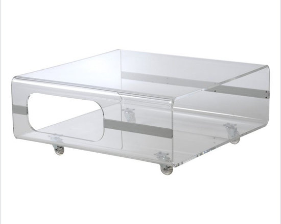 Eurostyle Matthew Coffee Table in Clear Acrylic - Display a touch of contemporary styling with the Matthew coffee table from Euro Style, featuring a durable 10 mm clear acrylic construction with aluminum accents. This functional coffee table also highlights a four clear acrylic casters.