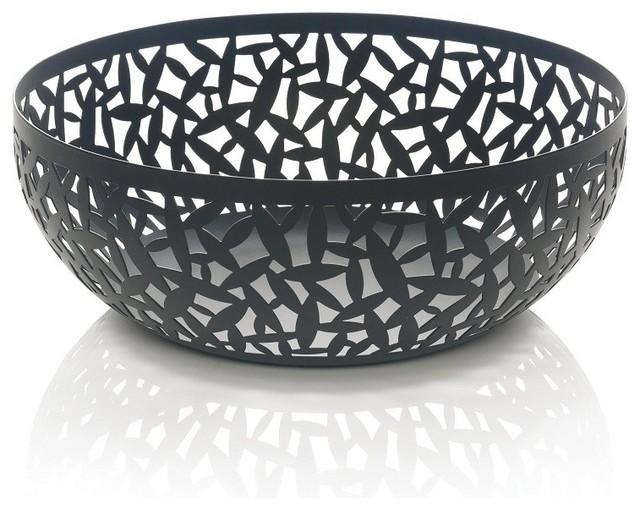 """Alessi """"Cactus!"""" Matte Black Fruit Holder, Black, Large contemporary-serving-bowls"""