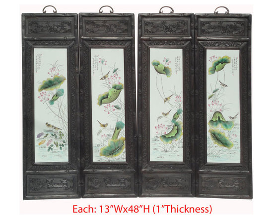 Chinese Antique Set/4pcs Porcelain Lotus Bird Carving Frame Wall Scree Panel - Look at this set of four pieces wall screen panel which is made of porcelain and elm wood. The painting has lotus and bird on it. Especially, its frame has nice detail carving on it and it should be perfect to decorate your wall.