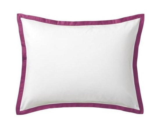 """Serena & Lily - Berry Border Frame Sham - A clean, simple design for those who crave a quieter bed. Sham features crisp 300-thread-count 100% cotton sateen with 1"""" band in Berry."""