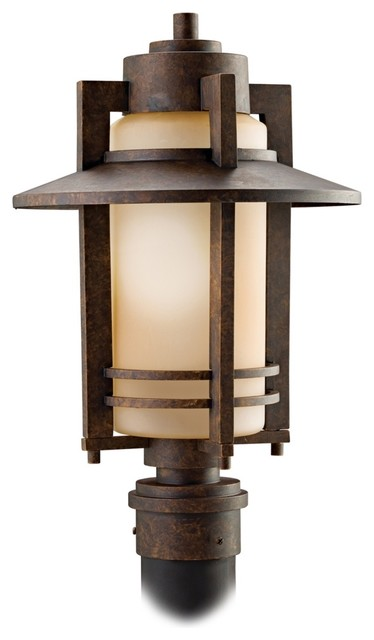 """Arts and Crafts - Mission Kichler Aged Bronze 17"""" Wide Outdoor Post Light traditional-outdoor-lighting"""