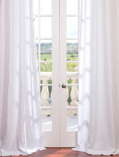 Signature Purity White French Linen Sheer Curtain - Contemporary - Curtains - san francisco - by ...