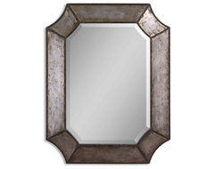 Uttermost Elliot Mirror, Distressed Hammered Aluminum traditional-mirrors