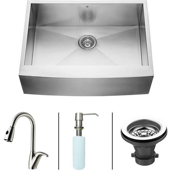 VIGO Farmhouse Stainless Steel Kitchen Sink Faucet and