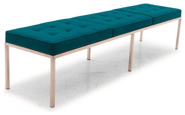 Franklin Bench Lucky Turquoise Blue Midcentury Upholstered Benches By Joybird Furniture