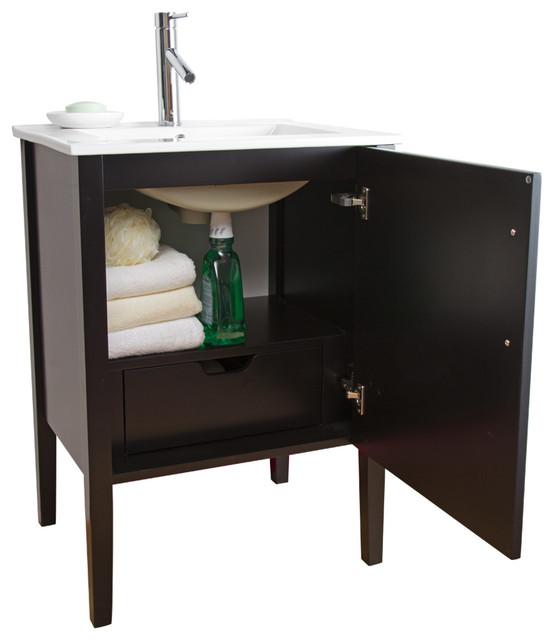 VIGO 24-inch Maxine Single Bathroom Vanity, Espresso, With Medicine Cabinet - Modern - Bathroom ...