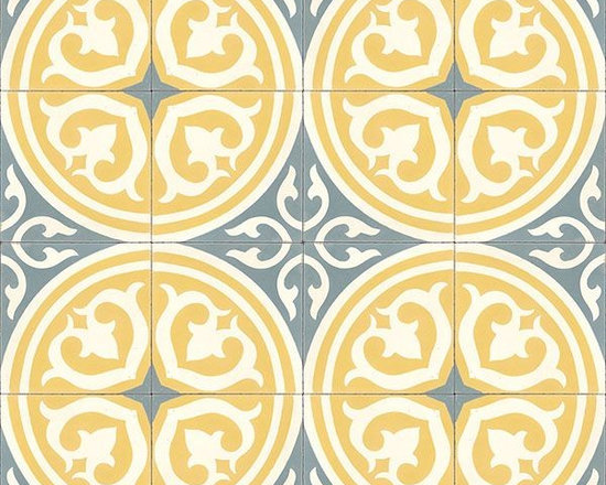 "In Stock Cement Tile - ""Isla"" handmade cement tile in Blanc, Peacock, and Crema from Cement Tile Shop"
