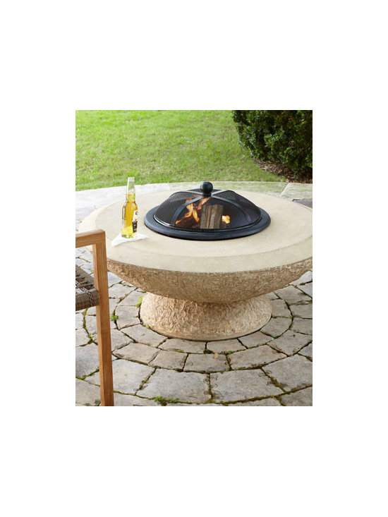 Horchow - Stonecast Fire Pit - Whether you're hosting a casual barbecue or formal multi-course dinner, this fire pit provides the perfect ambiance for your outdoor gathering; its metal mesh cap provides a modern touch to a unique, rustic base. Made of crushed stone/polyester resin/f...
