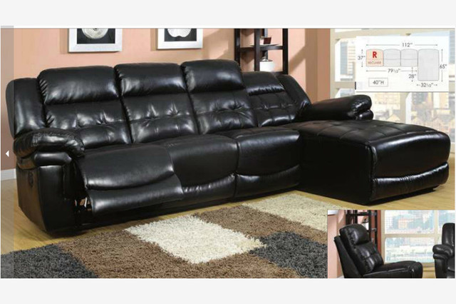 Black leather reclining sectional sofa recliner chaise for Black leather sofa chaise lounge