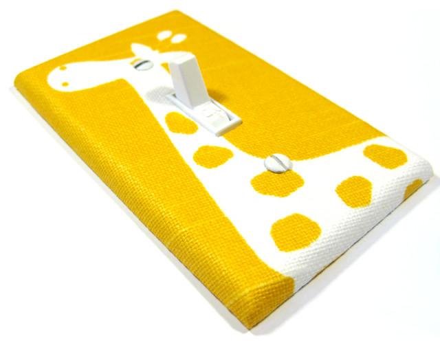 White Giraffe on Yellow Light Switch Cover modern-switchplates