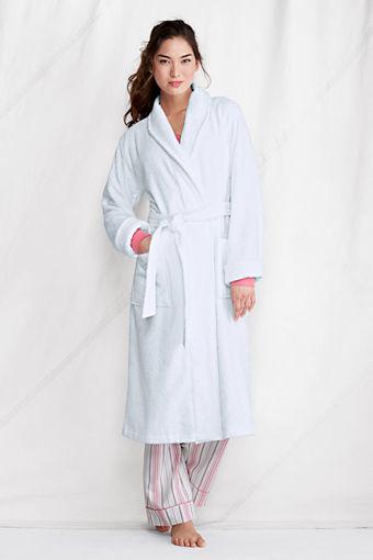 Women's Lightweight Calf-length Terry Robe, White traditional-bathrobes