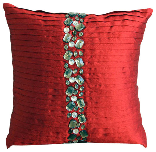 Deep Red Crystals Silk Throw Pillow Cover, 26x26 - Contemporary - Decorative Pillows - by The ...