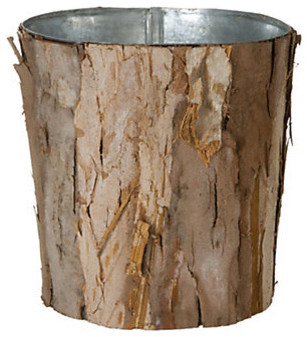 Wrapped Bark Pot eclectic waste baskets
