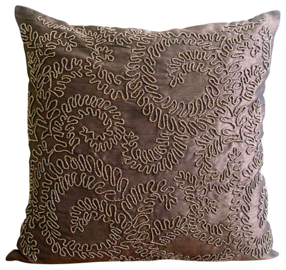 Brown Gold Ivy Decorative Silk Throw Pillow Cover, 20x20 - Traditional - Decorative Pillows - by ...