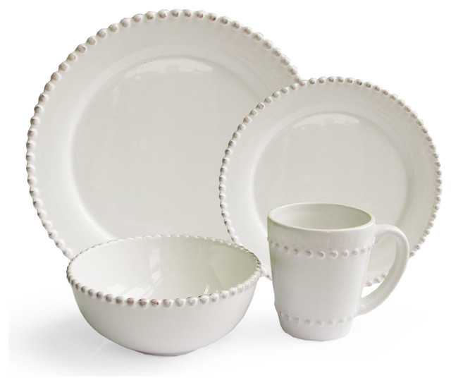 Bianca bead round 16 piece dinnerware set traditional dinnerware